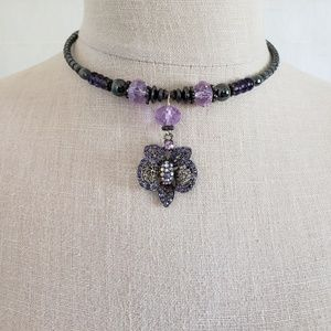 Purple Bead & Crystal Filigree Butterfly Choker